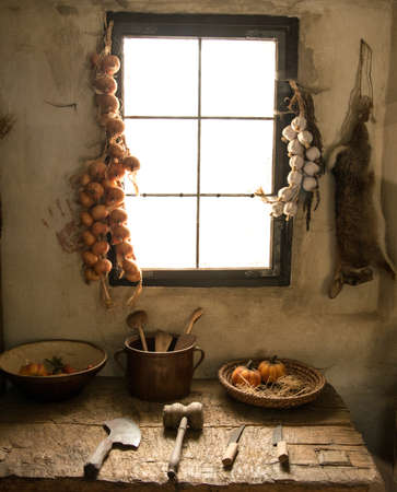 rustic food: Kitchen inside rural house Stock Photo