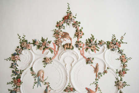 Wall with beautiful artistic architecture details photo
