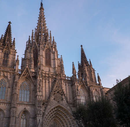 Cathedral of the Holy Cross and Saint Eulalia on sunset  photo