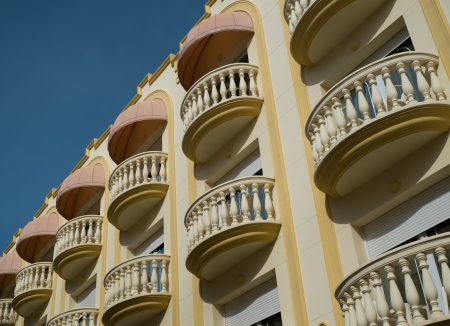 Beautiful balconies in town of Sitges, Spain photo