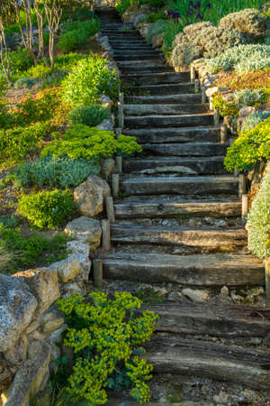 Old wooden stairs outdoors photo