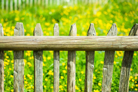 wooden fence post wooden fence with meadow behind it stock photo
