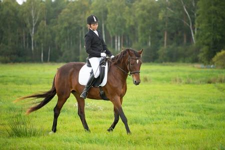 야외에서 그녀의 갈색 말을 타고 어린 소녀