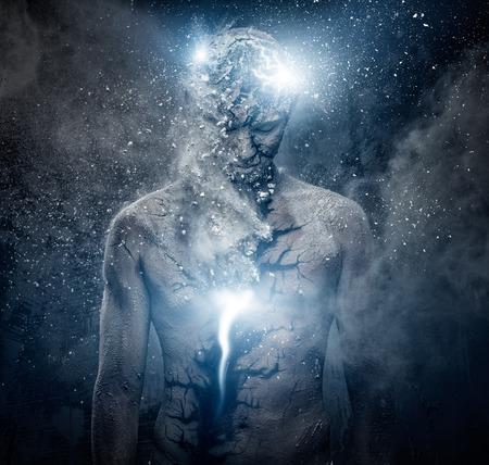Man met conceptuele spirituele body art