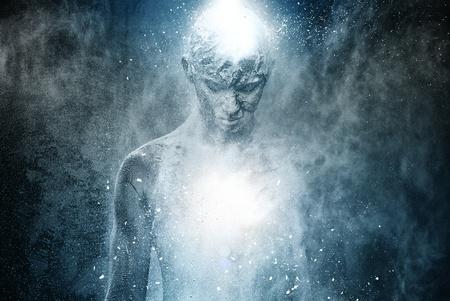 Man met conceptuele geestelijk lichaam kunst Stockfoto