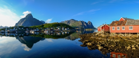 Panoramic view of a Reine village in Norway Stok Fotoğraf