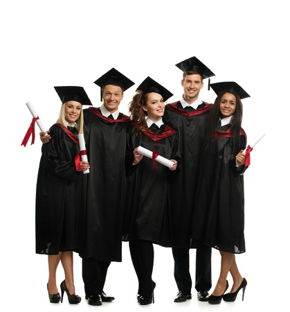 白で隔離され卒業の若い学生の多民族グループ