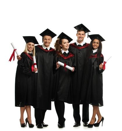 Groupe multi ethnique de jeunes étudiants diplômés isolé sur blanc Banque d'images - 27922560