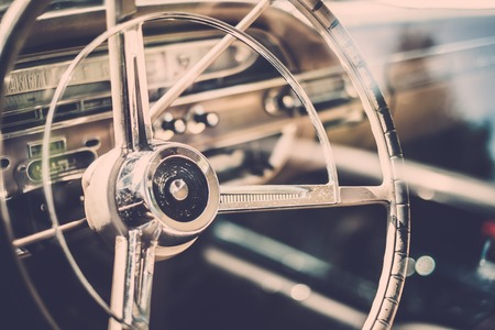 Interior of a classic american car  photo