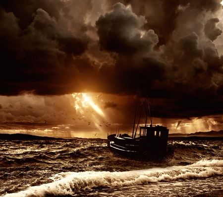 Fishing boat in a stormy sea