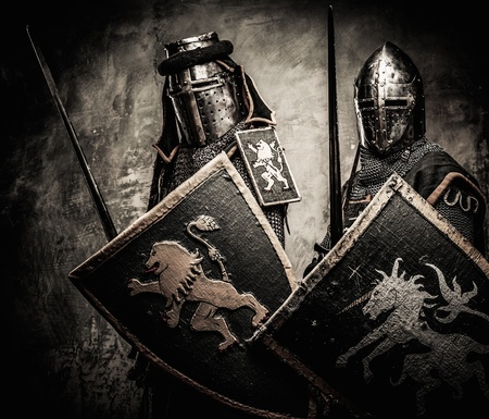 Medieval knights against stone wall