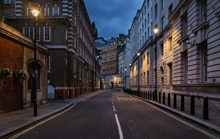 Empty street of London at night
