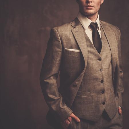 Goed geklede man in grijs pak Stockfoto