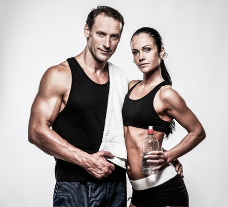 Athletic couple after fitness exercise Stok Fotoğraf - 36331984