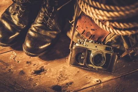 Traveller concept in a wooden interior Stok Fotoğraf