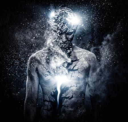 Man met conceptuele geestelijk lichaam kunst Stockfoto - 37682622