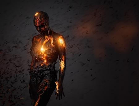 Creature gemaakt van lava en vuur Stockfoto
