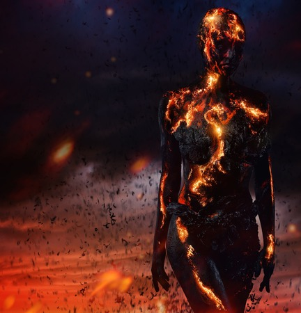 Creatura fatta da lava e fuoco Archivio Fotografico - 41532134