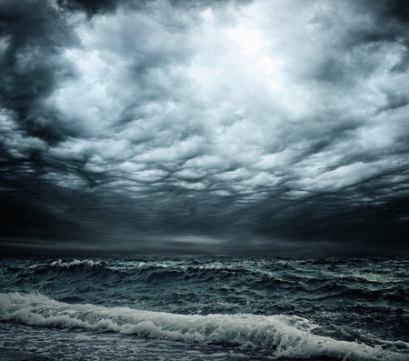 Stormy sky over an ocean