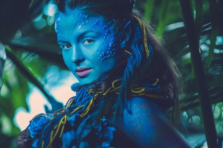 Avatar woman in a magical forest 스톡 콘텐츠