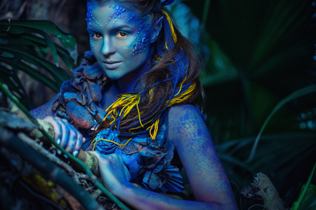 Avatar woman in a magical forest Banco de Imagens