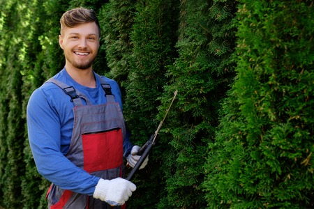 Young gardener cutting trees with clippers Stock Photo - 46116294