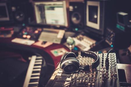 Close-up of boutique recording studio control desk.
