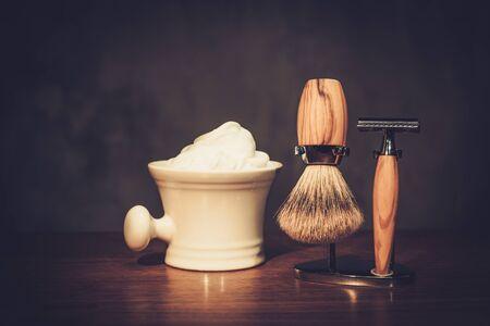 Gentleman's accessories on a luxury wooden board Imagens