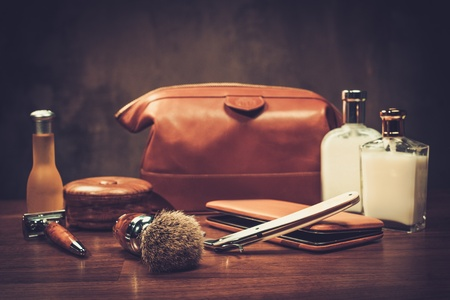 Gentleman's accessories on a luxury wooden board 写真素材