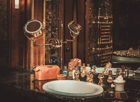 Shaving accessories in a luxury bathroom interior. Stock Photo