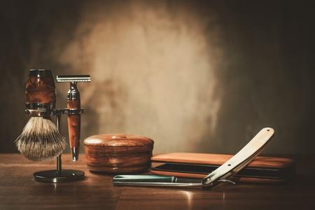 Gentleman's accessories on a luxury wooden board Archivio Fotografico