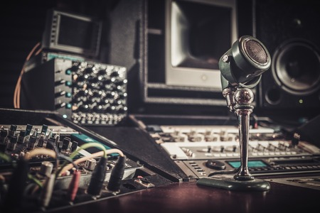 Close-up of boutique recording studio control desk. Stock Photo - 54363073