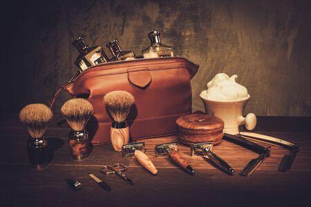 Gentleman's accessories on a luxury wooden board Banco de Imagens