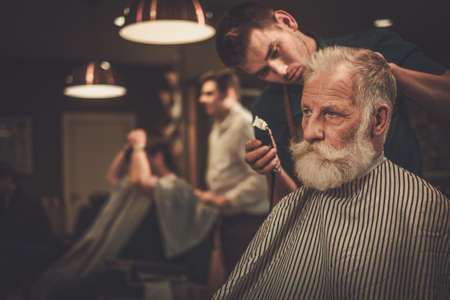 Senior man visiting hairstylist in barber shop. Stock Photo