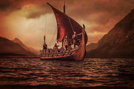 Group of vikings are floating on the sea on Drakkar with mountains on the background. Standard-Bild
