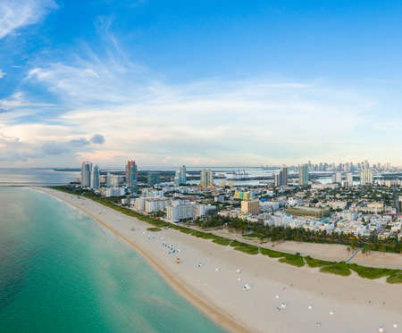Aerial view of Miami South Beach with hotels and coastline. USA