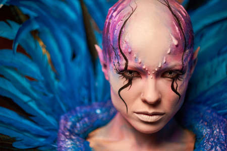Creative makeup. Woman from space concept Archivio Fotografico