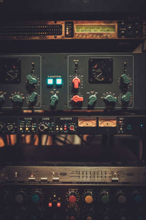 Boutique recording studio equipment view
