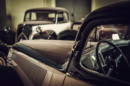 Mechanic in classic car restoration workshop Stock Photo
