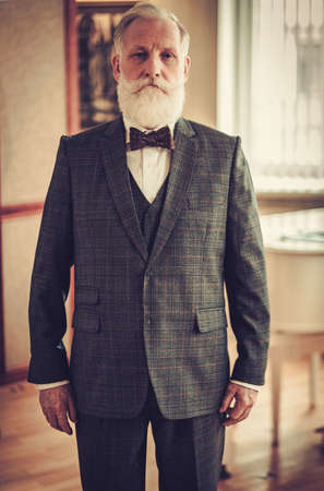 Well-dressed senior man in luxury interior Stock Photo