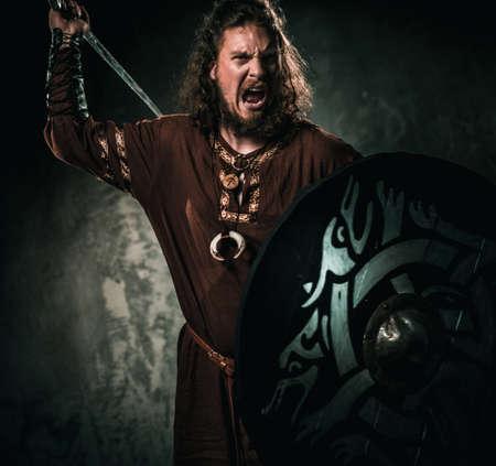 伝統的な戦士の服に剣で猛烈なバイキング