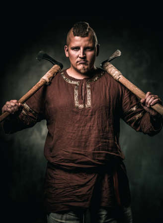 Viking with two battle axes Stock Photo