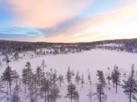 Aerial view of a beautiful Lapland winter landscape.