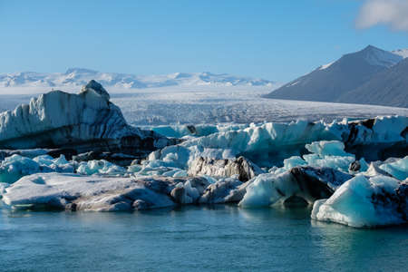 View of melting down glacier due to global warming. Stock Photo