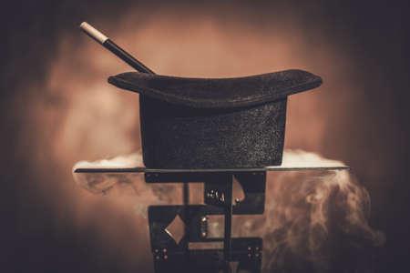 Top hat and a magic wand. Zdjęcie Seryjne