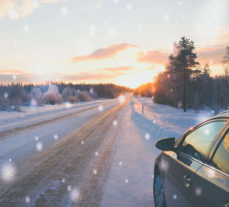 Stopped car on a snowy road. Stock Photo