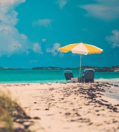 Sun umbrella on a tropical beach.