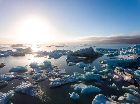 View of melting down glacier due to global warming. Banque d'images