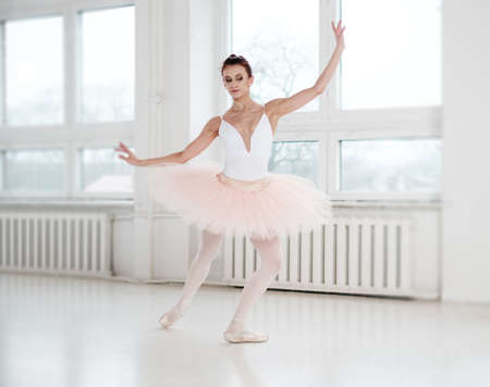 Gracefull ballerina in a dance studio.