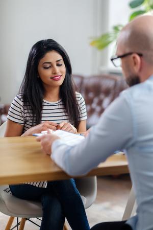 Indian girl attending job interview Фото со стока - 119736908